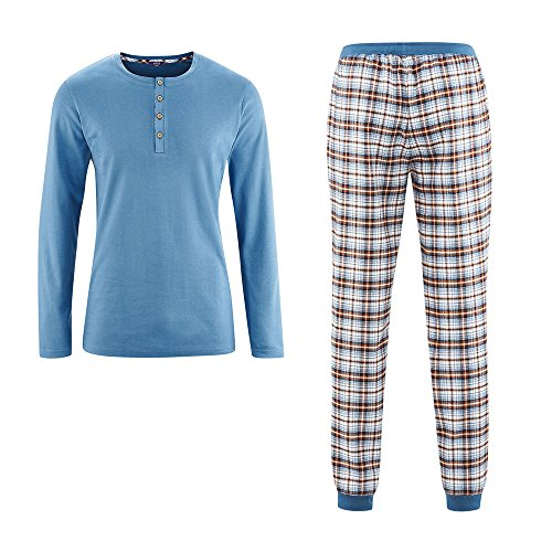 Living Crafts Flanell-Schlafanzug XXL, Blue Shadow/Off White
