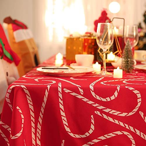 Deconovo Tovaglia Cerata Rettangolare in Tessuto Oxford Tovaglia Natalizia Lunga Elegante con Stampa del Gruccia per Natale 130x220cm Rosso