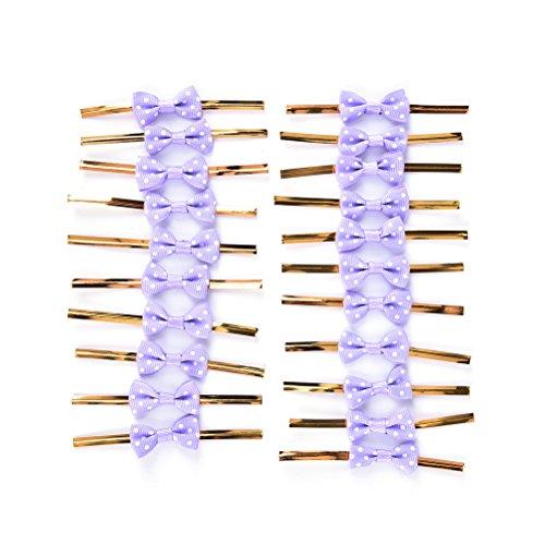 20X Toruiwa Metallic Twist Krawatten Schleife Geschenk Verpackung für Cookie Süßigkeiten Taschen (Lila)