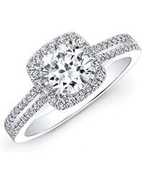 1.55 Ct Round Cut Moissanite Diamond Engagement Wedding Ring 14K White Gold Solitaire Anniversary Rings Diamond Color H-I Diamond Clarity SI1 Diamond Cut Excellent Size I J K L M N O P Q R S T