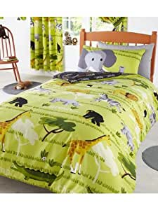 parure de lit housse de couette safari girafe jungle. Black Bedroom Furniture Sets. Home Design Ideas