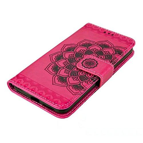 YHUISEN Huawei Y5 II / Y6 II Compact Fall, geprägte half Flower Design [Wrist strap] Premium PU Leder Brieftasche Tasche Flip Stand Case für Huawei Y5II / Y5 2 / Y6II Compact ( Color : Blue ) Rose