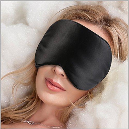 Sel Natural 100% Seda Pura Antifaz para Dormir, Máscara del Sueño para acostarse y viajar negro