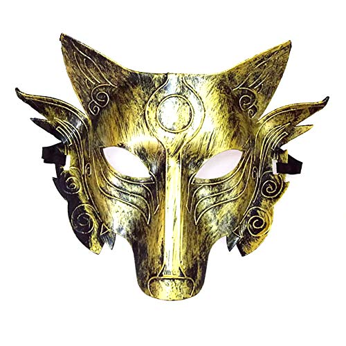 (Newin Star Cosplay Wolf Kostüm Maske Full Face Maskerade Maske für Männer Frauen Halloween Party Spiel Dekoration - Golden)