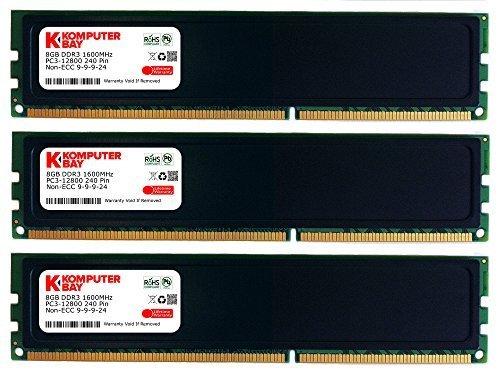 Komputerbay-Modulo di memoria DDR3PC3-12800, 2pezzi, 8GB, 1600MHz) 24GB Black (3x 8GB) CL 9