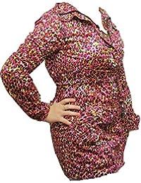 Multi coloured diseño de estampado animal con cremallera impermeable con capucha abrigo
