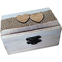 Baoblaze Vintage Caja de Anillo de Madera en Forma Corazón Envase para Boda Fiesta Portador de