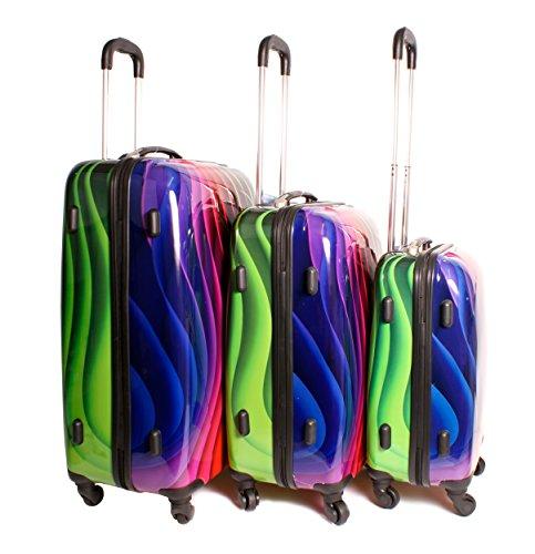Set di 3 Valigie, Super leggero con 4 ruote, design Funky Set di valigie, in plastica rigida, 2408 piega ondulata, multicolore arcobaleno