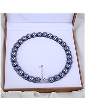 Schmuckwilly Muschelkernperlen Perlenkette Perlen Collier - grau Hochwertige Damen Halskette aus echter Muschel...