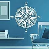 HANHAN Nautique Compass Rose Sticker Mural Océan Mer Style Salon Décor À La Maison Mandala Compas Stickers Muraux Naviguer Navire Murale 42 * 42 cm