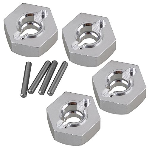 BQLZR 4pcs 12mm Aluminum Wheel Hex for AXIAL 90026 RC 1:10 Rock Crawler AX31015 Silver