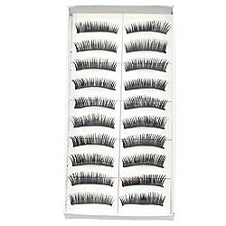 Bluelans® 10 Paar Falsche künstliche Wimpern Schwarz Eyelasches Wimpernverlängerung Make-up