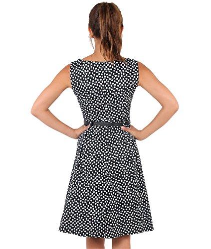 KRISP Damen Vintage Kleid Blümchen Swing Midi Schwarz