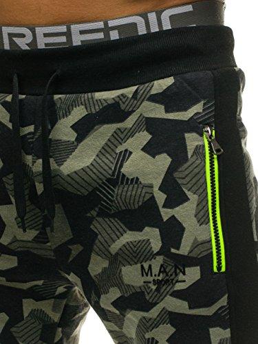 BOLF – Pantaloni – Di tuta – Sportivi – Motivo mimetico – Tasche – Da uomo 6F6 Verde