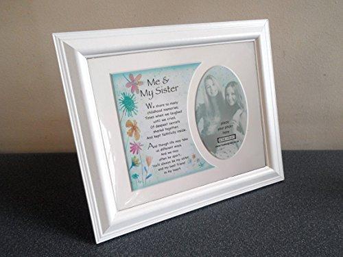 Me and my sister Memory Halterung mit einem schönen Vers Gedicht und einer Auswahl von Bilderrahmen, holz, With White Frame, 25 x 20 cm