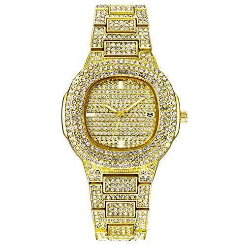 DEQIAODE Herrenuhren Mode Luxus Diamant Marke Datum Quarz Uhr Männer Gold Edelstahl Business Watch,Gold