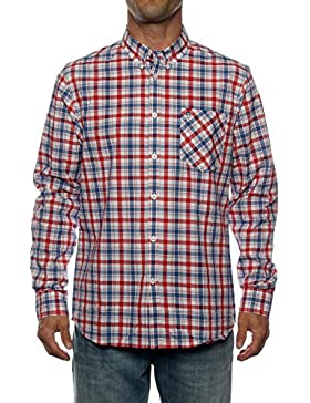 Merc Walpole Ls Shirt - Camisa para hombre, talla L, color RED BLUE