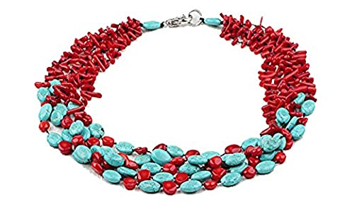 TreasureBay Exclusive Five-Strand Natural Red Coral and Turquoise Necklace Length: 48-54cm - Presented in a Beautiful jewellery gift Box