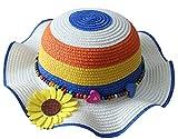 CAOLATOR Sonnenhut Mädchen Regenbogen Strohhut Sommer Strandhut Hüte Kleinkind Sommermütze Für Kinder Mit Blume (Blau)