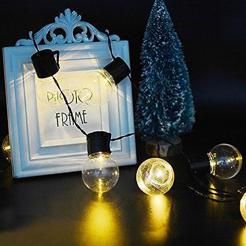 KEEDA LED Solar Kugel Lichterkette Warmweiß mit 10pcs Globe Birnen, 3.5m(15.75ft) Glühbirne Lichterketten, Solar Weihnachts Beleuchtung, Innen und Außen Deko Glühbirne,Außenbeleuchtung , Solar Garten Dekorative Lichter/ Lichterkette Beleuchtung , Weihnachten Dekoration, Wasserdicht (Warmweiß)