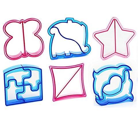 Tesan Ausstecher von Sandwich,Keks und Brot-Set von 6 hoch Qualitats-Schmetterling, Dinosaurier, Delphin, Elefant, Stern, Quadra,6 (Ausstecher Weihnachten Geschenk)