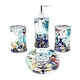EUMAT Ozean-Serie Badezimmer-Waschzubehör-Set, Acryl-Aufbewahrungsbox mit blauem Glas und Muschel-WC-Zubehör, 4-teilig
