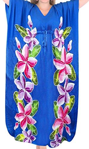 La Leela beachwear maillots de bain de rayonne des femmes couvrir caftans aloha de vêtements de nuit multiples bleu