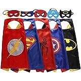 5 disfraces de superhéroe de Zaleny, desatén, con capa y máscaras de fieltro