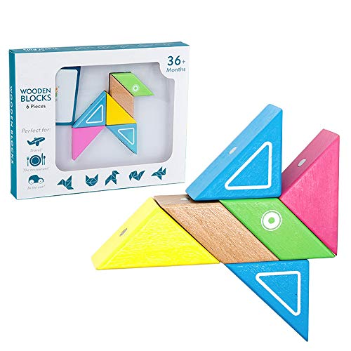 lz Bausteine Magnetisches Holzpuzzle 6 Stück Holzklötze Holzspielzeug Motorikspielzeug Pädagogisches Spielzeug für Kinder Mädchen Jungen ab 3 4 5 Jahr ()