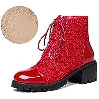 YAN Bottines pour Femmes, Bottes Mode Martin Automne et Hiver Chaussures à  Lacets Chaussures 0677773d2de5