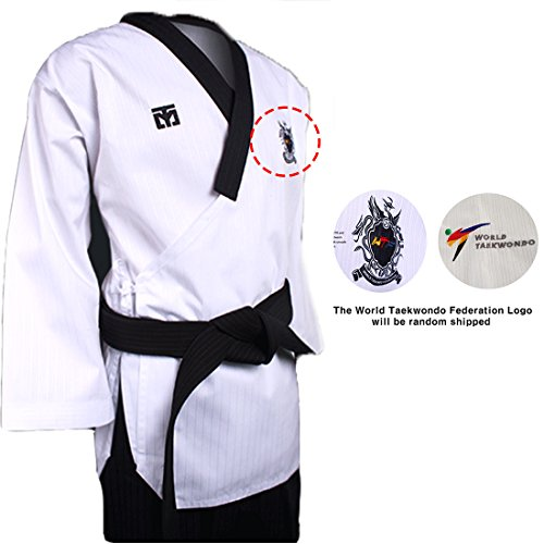 Mooto Poomsae Dan Uniforme dobok kukkiwon Coreano Taekwondo para Hombre 180(Altura: 180~189cm)(5.90~6.20ft) Oscuro y Negro pantalón Azul Marino