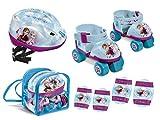 Mondo Toys - pattini a rotelle regolabili frozen disney per bambini - Taglia dal 22 al 29 - set completo di borsa trasparente, gomitiere, ginocchiere e casco