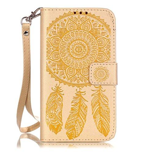 Etui Samsung J5 (2015) , Anfire Attrape Reve et Henna Mandala Sun Lace Tribal Vintage Motif Peint Mode PU Cuir Étui Coque pour Samsung Galaxy J5 (2015) SM - J500FN (5.0 pouces) Housse de Protection Lu Marron