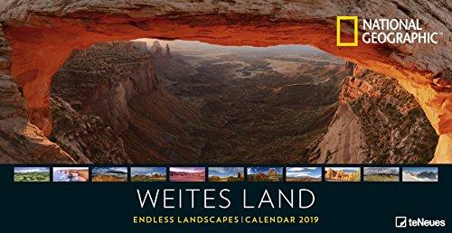 Weites Land 2019 - National Geographic Fotokalender, Posterkalender 2019, Landschaftskalender 2018, Panoramaformat - 64 x 33 cm