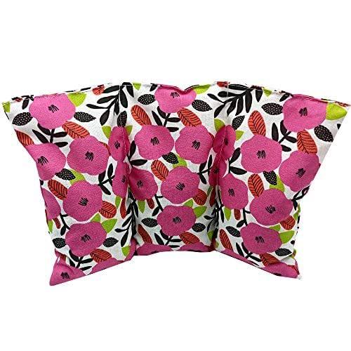 """Cuscino termico noccioli ciliegia """"Pink Petunias"""" - 26 x 16 cm (M / L) - pieno di noccioli di ciliegia 330gr - effetto freddo/caldo"""