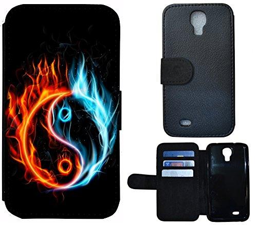 FioMi-Protect Schutz Hülle Flip Cover Handy Tasche Etui Case für (Samsung Galaxy S4 / S4 Neo, 1086 Ying Yang Feuer Orange Blau Schwarz)