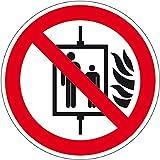 Verbotszeichen - Aufzug im Brandfall nicht benutzen - Selbstklebende Folie - Ø 10 cm