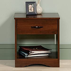 Custom Decor Sauder Beginnings Solid Wood End Table Night Stand Side Table With Drawer And Storage - Honey Teak Brown