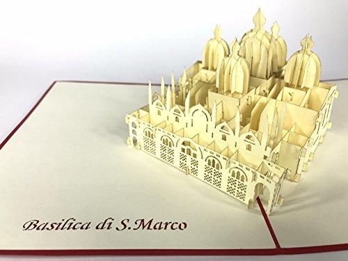 Basilika Di S Marco Venedig Rom, Tulpen Sie Pop-Up-Grußkarte, Kirigami Papier Craft, Postkarten, Celebration, Gratulation, (Ups-geschenk-karte)