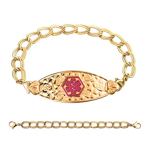 divoti-custom-engraved-pvd-gold-cherry-blossom-medical-alert-bracelet-double-link-chain-tp-magenta-6