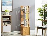 ZCJB 360 Grad-Drehungs-Bücherregal Mit Tür-Speicher-Regal Mehrschicht-Bambus-Standplatz-Bücherregal-Ausstellungsstand ( Farbe : A )