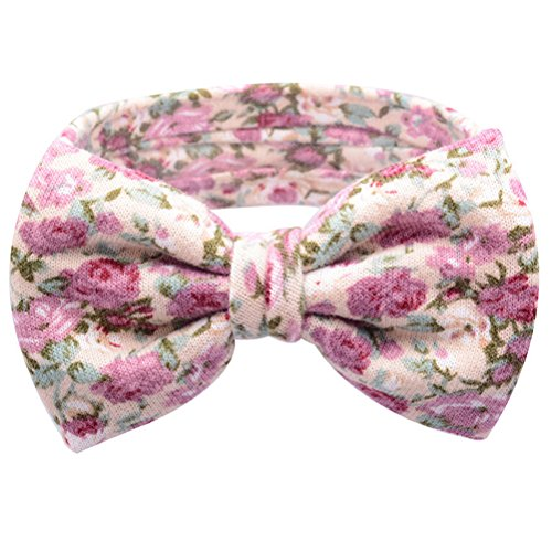1 Pcs Baby Kids Big Bow Turban Knot Headband Floral Flower Hairband Beige