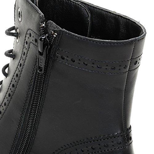 Alesya Scarpe&Scarpe - Flache Geschnürte Stiefeletten mit Lochmuster, Leder, mit Absätzen 4 cm Schwarz