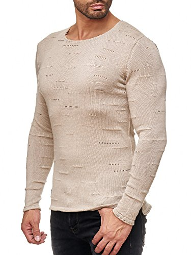 Red Bridge Herren Pullover Sweatshirt Langarmshirt Holy Bars Sweatshirt M3031 RBC Beige
