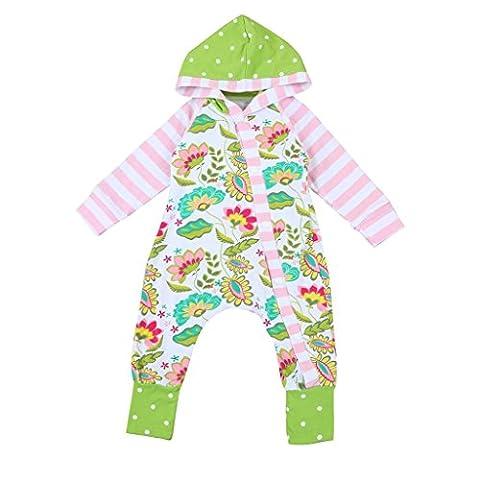 Ouneed Bekleidungssets , hot sale Kleinkind Neugeborene Baby Jungen Mädchen Blume Kapuzenjacke Overall Outfits Kleidung (80,