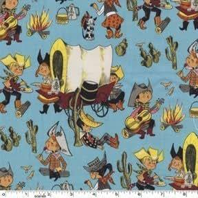 Fat Quarter recouvert Wagon (chuckwagon (Chariot)) Whimsical Cowboys Coupons de tissu en coton