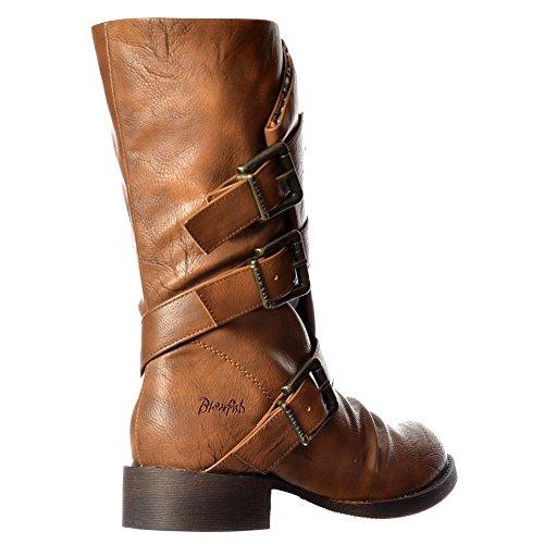 Fibbia Di Kasbah Tre Blowfish Femminile Ladies Metà Polpaccio Inverno Biker Boot - Nero, Whisky Sella Vecchio Whisky