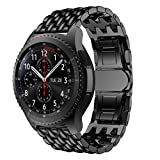 WAOTIER für Samsung Galaxy Watch 46 socken Edelstahl socken für Samsung Galaxy Watch 46mm mit Schnellverschluss Eleganter Drachenmuster socken für Männer und Damen (Schwarz)