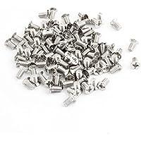 Sourcingmap - 100 piezas de acero inoxidable de 3 mm x 6 mm phillips tornillos de cabeza plana