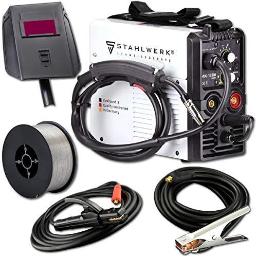 STAHLWERK MIG 135 M IGBT - MIG MAG Schutzgas Schweißgerät mit 135 Ampere, FLUX Fülldraht geeignet, mit MMA E-Hand, weiß, 5 Jahre Herstellergarantie